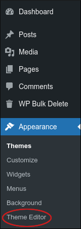 WordPress - Dashboard - Appearance - Theme Editor