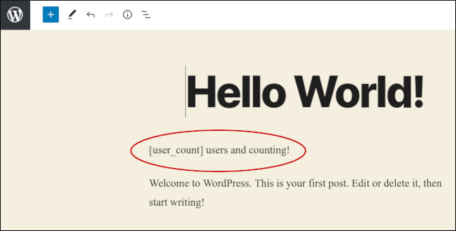WordPress - User count example