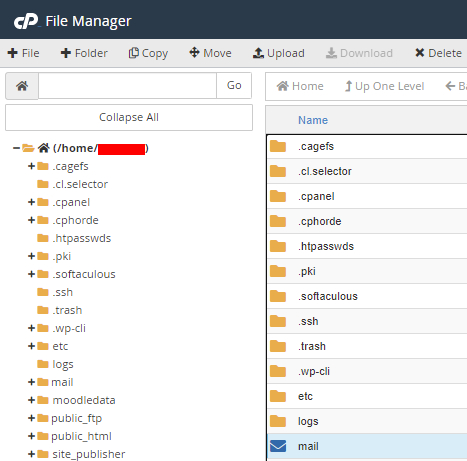 Mail directory within File Manager